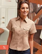 Ladies´ Roll Short Sleeve Fitted Twill Shirt